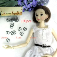 NDA050SXDGY Doll Dress DIY 8x8mm Metal Buckle Dark Grey 100pcs