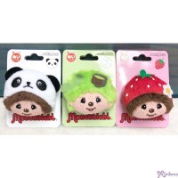 Monchhichi 5.5 x 4.5cm Face Badge - Panda + Green Tea + Strawberry 201440 + 201457 + 201464