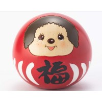 Monchhichi Kokeshi Japan Hand Made Craft Wooden Doll  Daruma Red 445565