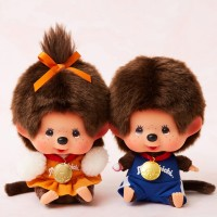 Japan SFDS Shop Limited Monchhichi 13cm Sitting Sport Boy & Girl ~ PRE-ORDER ~ 838028+838035