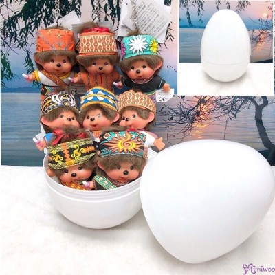 Easter Egg + Monchhichi SS Size Big Head Mascot Taiwan Tribe (Set of 8pcs) 7029SET
