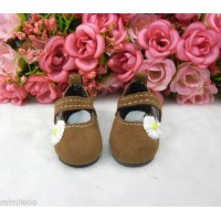 Monchhichi S Size Yo-SD 1/6 bjd Velvet Flower Mary Jane Shoes Brown SHU070BRN
