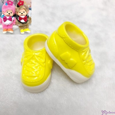 Monchhichi S Size Doll Shoes Plastic Sneaker Yellow XA57-D