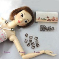 NDA021DGY Doll Dress DIY Crafts Mini Metal Buckle Dark Grey 10pc