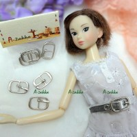 NDA034SLR Doll Dress Crafts 11mm x 18mm Metal Buckle Silver 3pcs