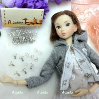 NDA036SLR Doll Dress DIY Crafts Mini Hook & Eye Closing Silver