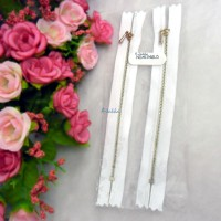 12cm White Close End Zipper Gold Metal Handle 2pcs NDA134GLD