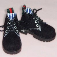 MSD DOD DOC 1/4 bjd Doll Velvet Hiking Shoes Black SHM042BLK