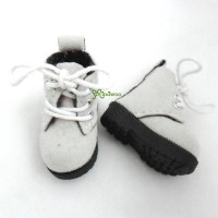 1/6 Bjd Neo B Doll Shoes Velvet Boots Grey White SHP187WHE