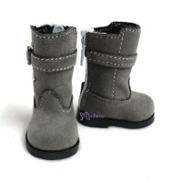 Yo-SD Bjd MCCdoll Shoes Buckle Velvet Boots Grey SHU053GRY