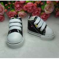 Yo SD Obitsu Male 1/6 Bjd Doll Monchhichi Shoes Dots Sneaker Black SHU004BLK