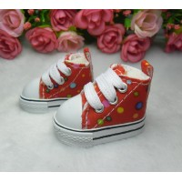 Yo SD Obitsu Male 1/6 Bjd Doll Monchhichi Shoes Dots Sneaker Red SHU004RED