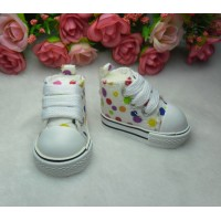 Yo SD Obitsu Male 1/6 Bjd Doll Monchhichi Shoes Dots Sneaker White SHU004WHE