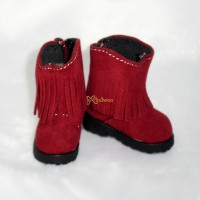 Yo-SD 1/6 BJD Doll Shoes Velvet Tassel Boots Red SHU045RED